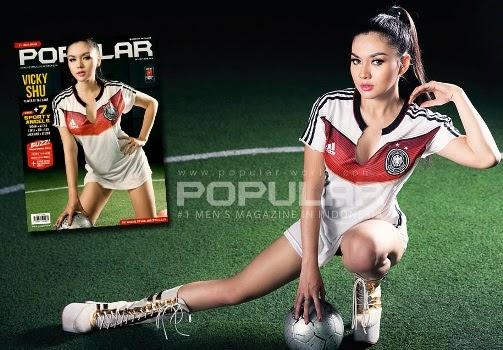 foto sexy hot Vicky Shu, model sexy Popular-World Indonesia Juni 2014