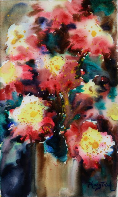 Sensation Fine Art Watercolor painting on Paper Zinnia Sonata series, Eight of Eight