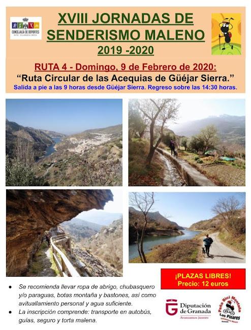 CONVOCATORIA: 4ª Ruta de las XVIII Jornadas de Senderismo Maleno 2019/2020