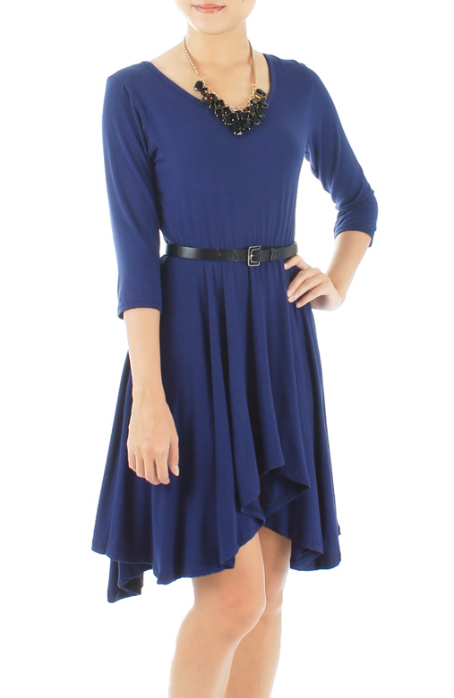 Dip Back Mini Dress with ¾ Sleeves – Monaco Blue