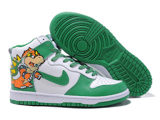 the best attitude 869b1 ea58d Bowser ,King Koopa one bad guys in the super mario games.Here are four pack  of this bowser Nike Mario Bros Dunks High Tops Shoes.