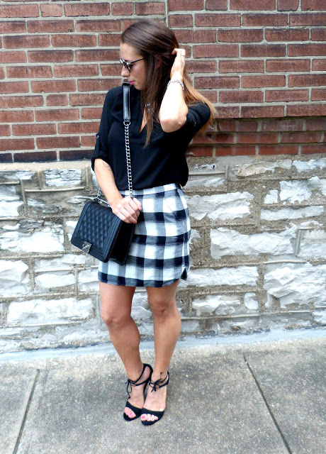 chanel treasure bond plaid mini steve madden style fashion blogger aquazzura dior so real lush tunic work outfit