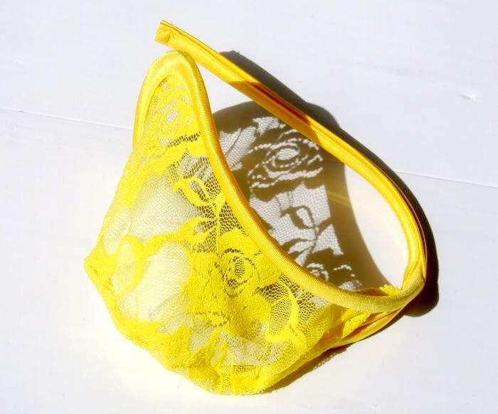[CG] Slip jaune fluo /!\ Securité renforcée UM329-2+Sexy+Yellow+Mesh+Floral+C-Cup+Men%2527s+Underwear