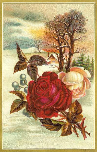 antique flower rose clip