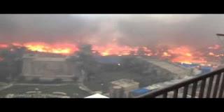 فيديو حريق مبدان رابعة العدوية نار كالبركان