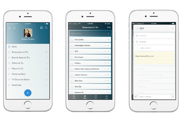 Wunderlist App -- create lists and check off tasks