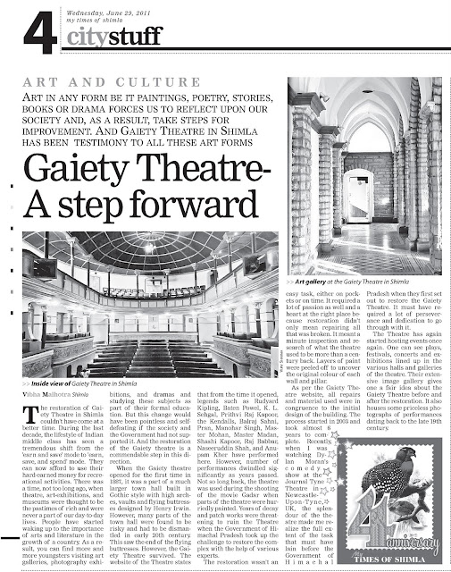 Gaiety Theatre, Times of India, India, Shimla, Himachal Pradesh, Art, culture, drama, heritage