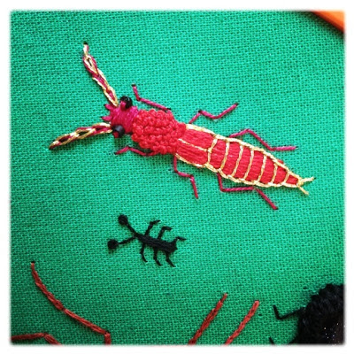 Broderi. Stumpwork Rove beetle. Satin stitch, open chain stitch, french knots.