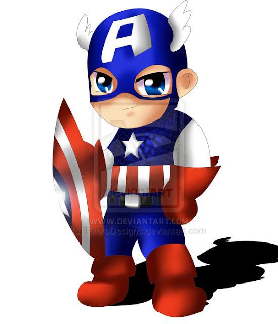 Captain America Chibi por ExoroDesigns