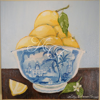 Lemons in Blue and White Bowl