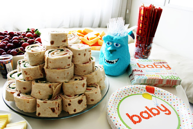 Food at a Monsters Inc Baby Shower