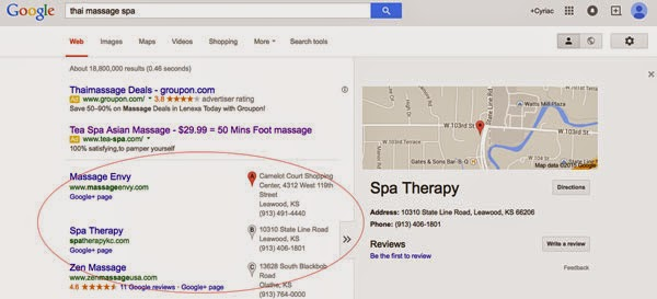 Screenshot of Thai Massage Spas listed on Google