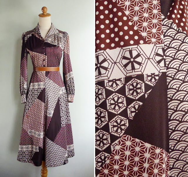 vintage 70's oriental print dress