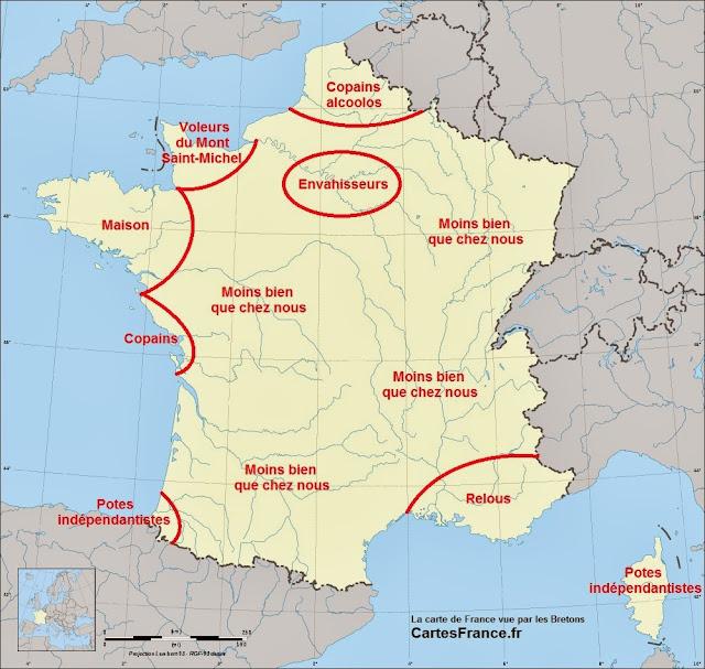 Carte de France vue par les Bretons