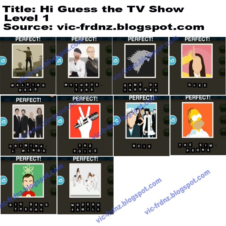 Hi Guess the TV Show Answers Walkthrough