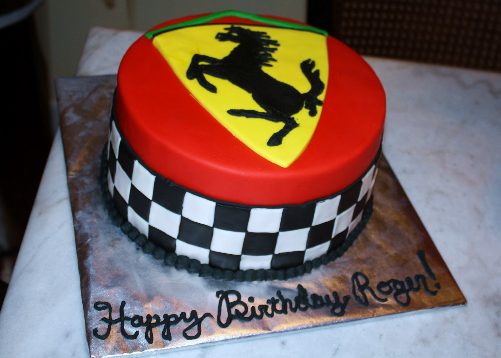 SAB Cakes Checkerboard Ferrari Birthday Cake