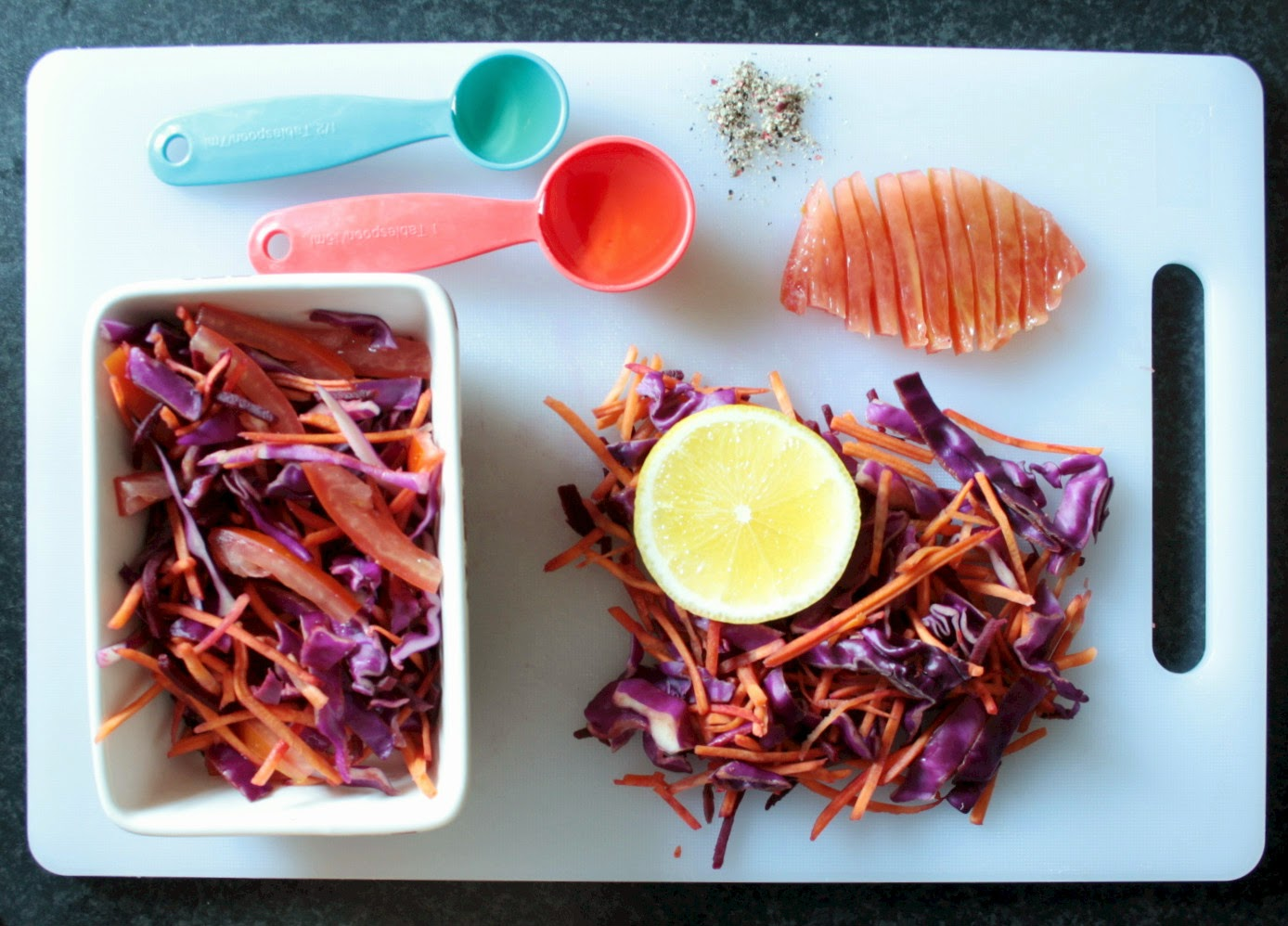 A quick and easy beetroot, cabbage and carrot coleslaw with a white wine vinegar and lemon dressing.  No mayonnaise used to very light and healthy!