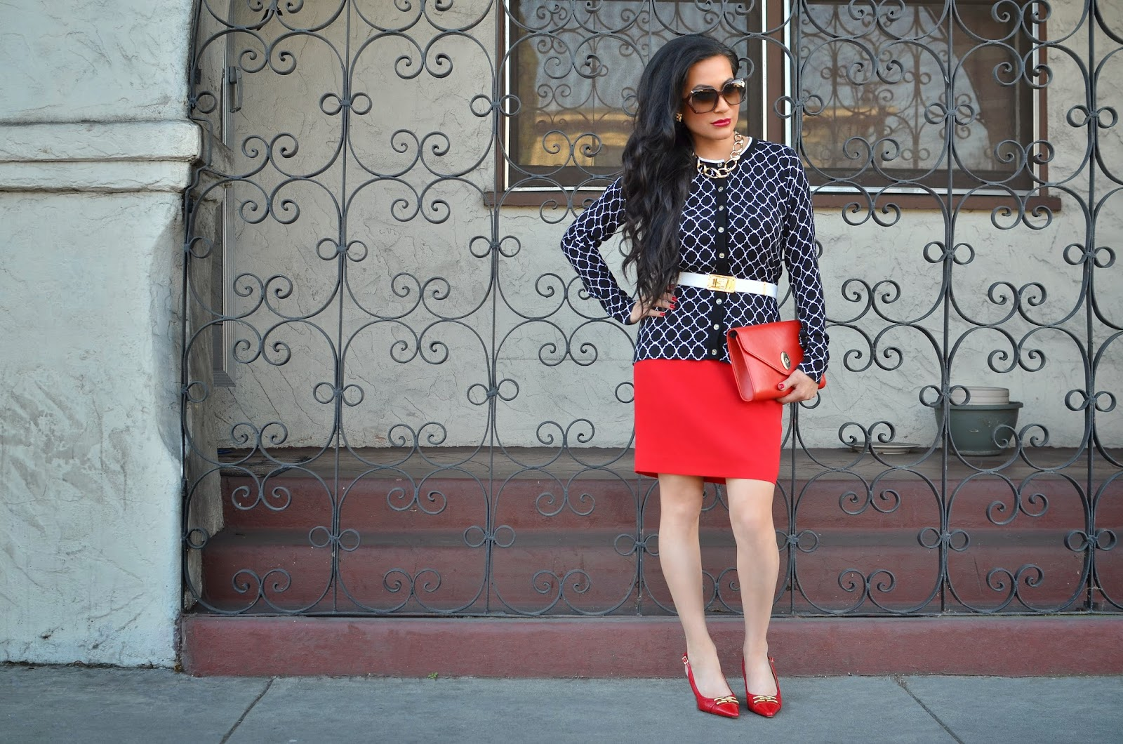 St. John Knits Belt St. Thomas gold link necklace Gucci Sunglassess Karen Scott Red and Gold Heels Christian Dior Handbag Vintage Christian Dior Red Handbag Charter Club Navy Sweater Cardigan Macy's