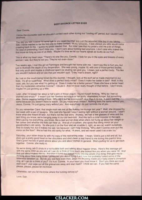 Best divorce letter ever joker