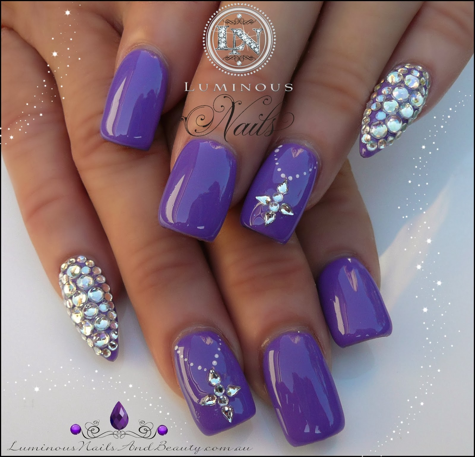 Indigo Violet Nails with Crystal Pointy Pinkies...