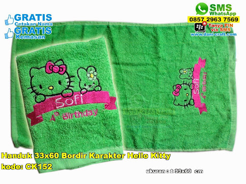Handuk 33x60 Bordir Karakter Hello Kitty