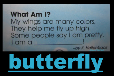 photo of: butterfly rhyme for spring, preschool, kindergarten