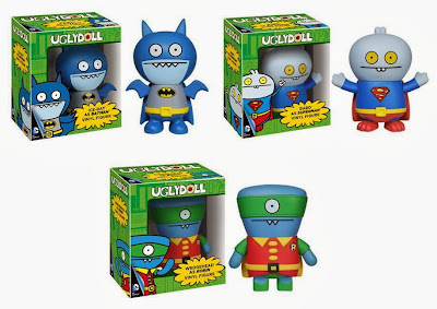 DC Comics x UglyDoll Vinyl Figures - Ice-Bat as Batman, Babo as Superman & Wedgehead as Robin