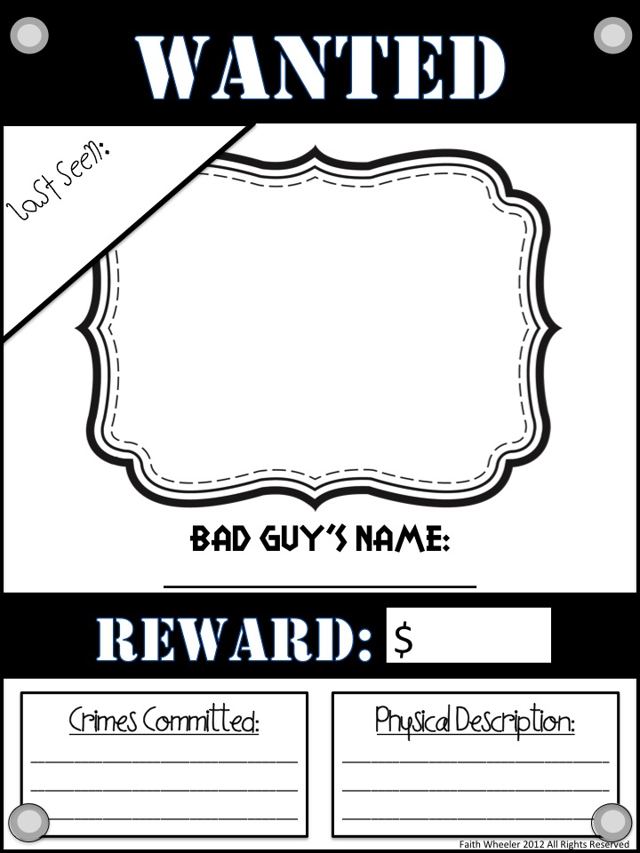 Wanted poster template for kids