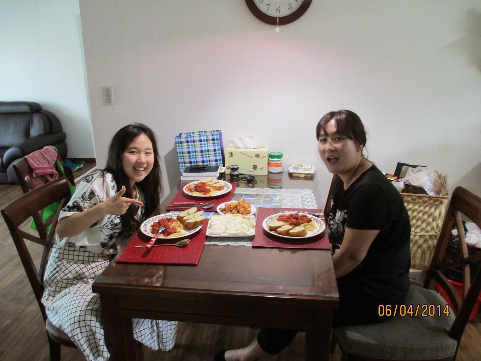 spaghetti lunch (notice the kimchi)