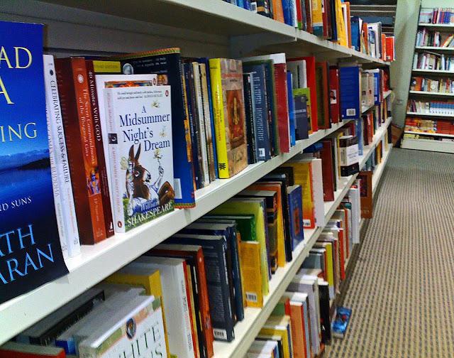 closeup of books in bookshop