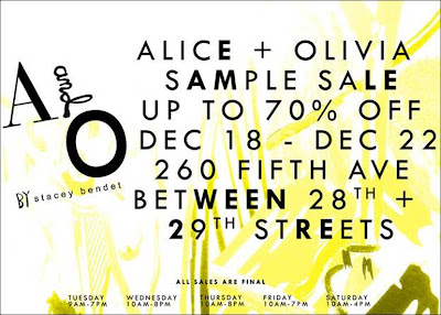 Alice+Olivia Sample Sale in NYC, 12/18-22! @alice_olivia featured on shopalicious.com