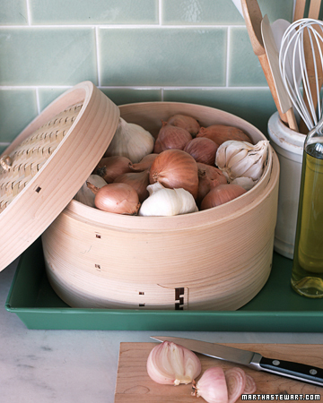 i adore this idea u2026i also love my bamboo steamer but i never thought of storing my baby new potatoes or garlic  notice i don u0027t say onions u2026just don u0027t like     25 affordable kitchen storage ideas   the cottage market  rh   thecottagemarket com