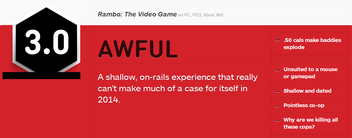 Rambo The Video Game Game Rating - 3/10
