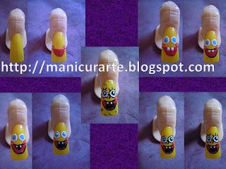 Manicura SpongeBob nails (Bob Esponja)