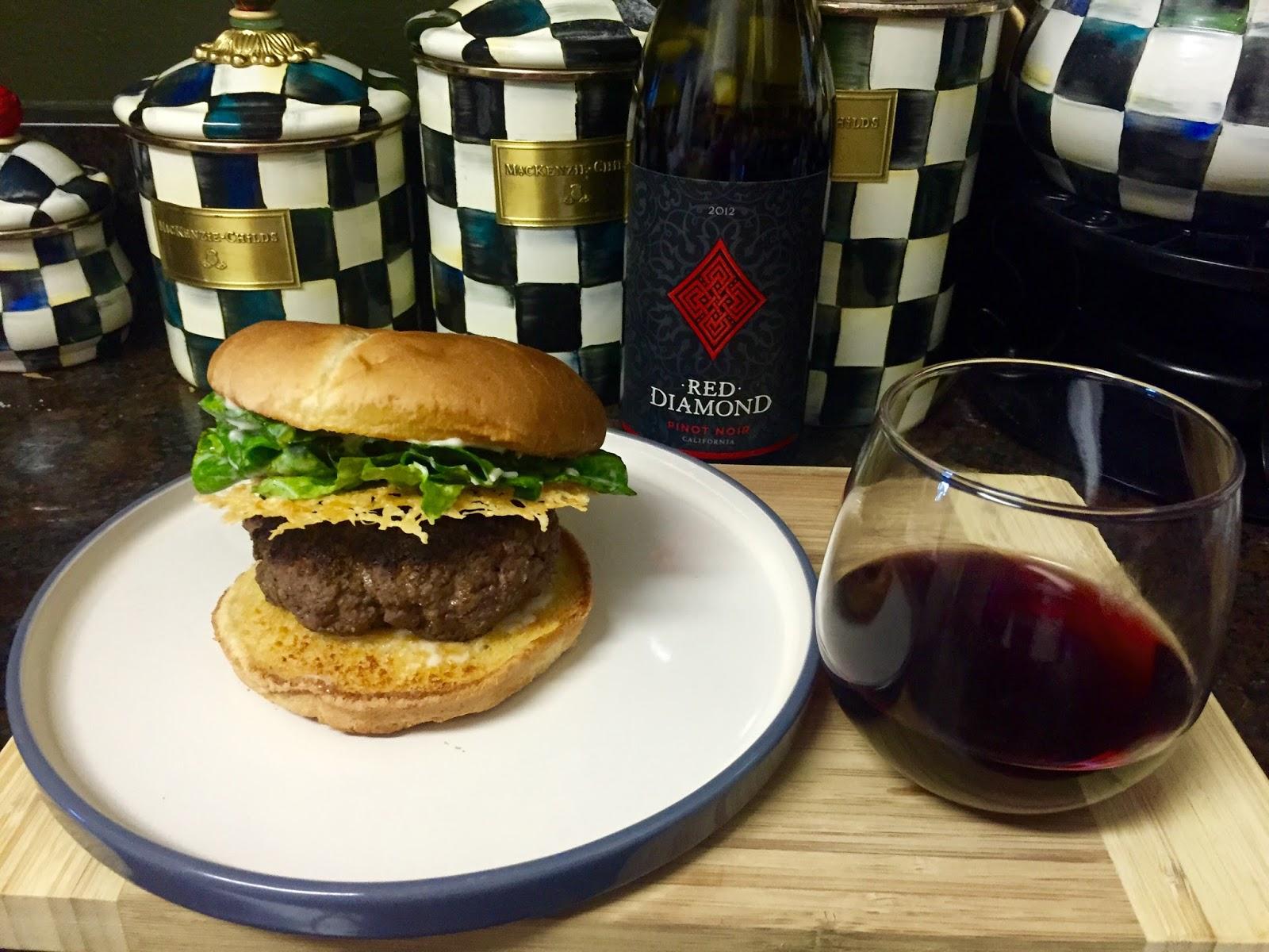 Run For Wine: Caesar Salad Burger Recipe with Red Diamond Pinot Noir