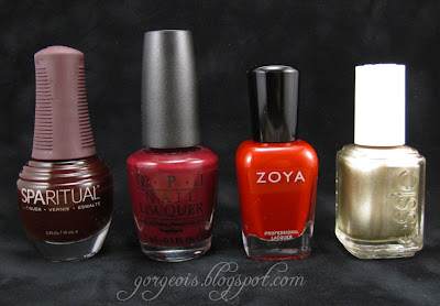 Sparitual I Feel the Earth Move, OPI Mrs. O'Leary's BBQ Sauce, Zoya Rekha, Essie Good as Gold