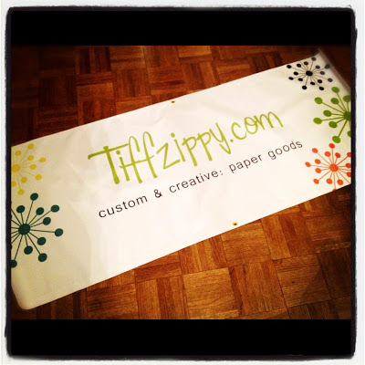 white promotional banner for TIffzippy.com printed by GotPrint