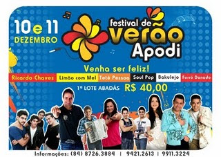 Festival de Verão Apodi: 10 e 11 de dezembro. Venha ser feliz!