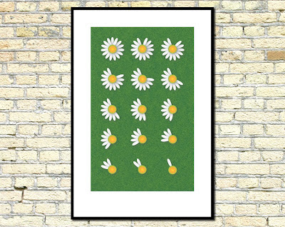 daisy poster framed on wall