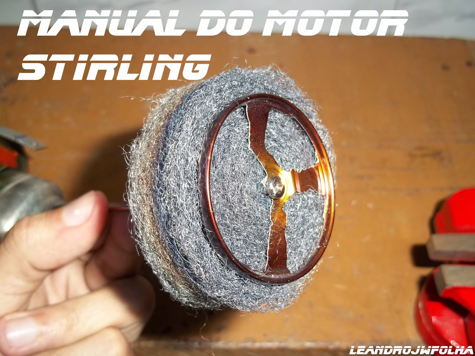 Displacer piston steel wool of a Stirling engine, Manual do motor Stirling