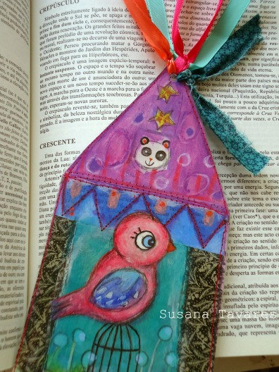 Bird bookmark mixed media art collage  by Susana Tavares
