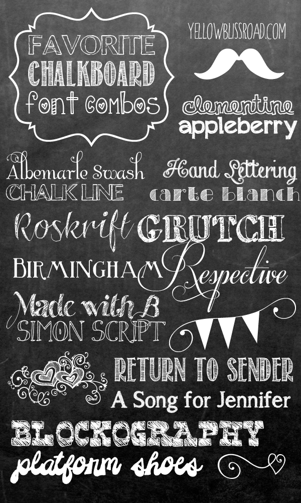 My favorite font combinations to use when making chalkboard printable signs! Picking fonts doesn't have to be difficult!! yellowblissroad.com