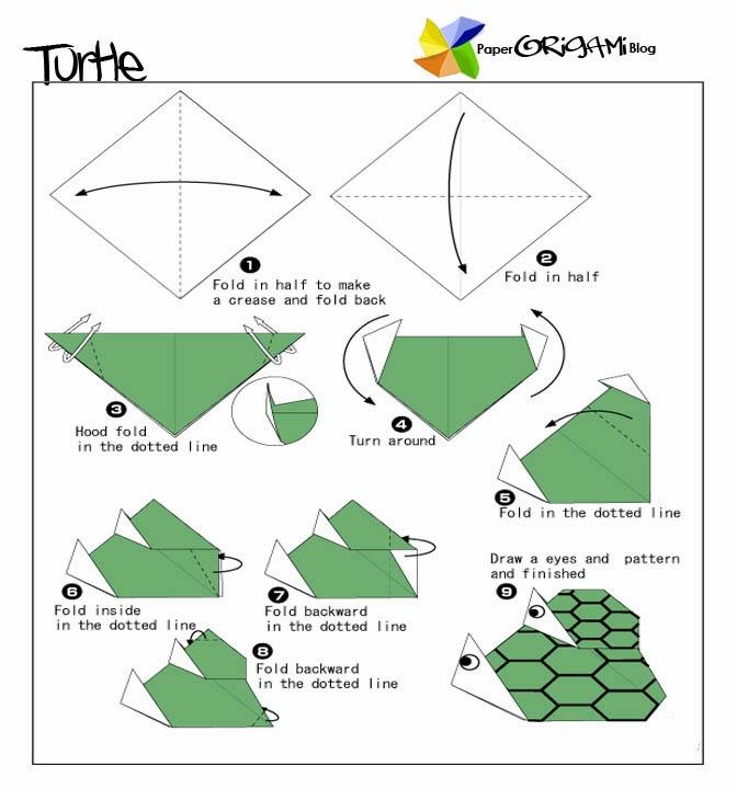 Origami Turtle Diagram Turtle Origami Folding