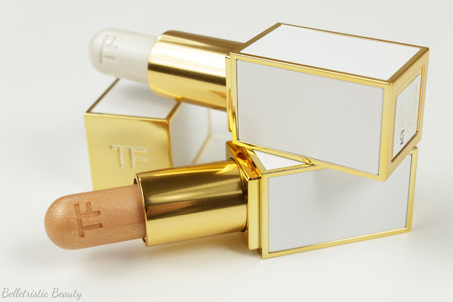 Tom Ford 01 1 Moonlight and 02 2 Solar Gold Lip Shimmers Summer 2014 Collection in studio lighting