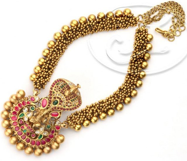 Long Set with ANtique Naga Locket - Jewellery Designs