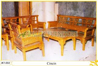 Set Kursi dan Meja Tamu Ukiran Cincin Kayu Jati