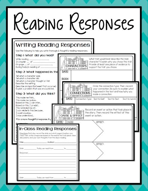 Reading Portfolios- Part 3: Reading Responses {+ freebie} - Create Teach Share