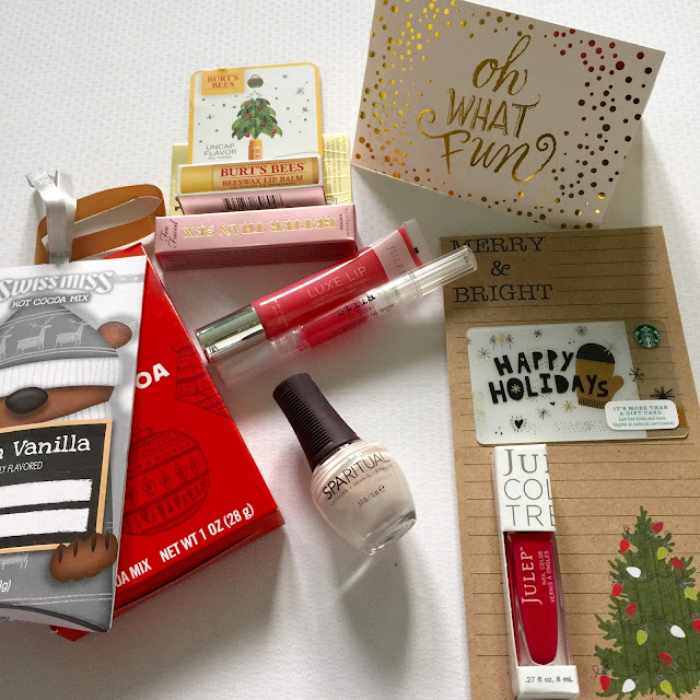Beauty and lifestyle items from the Blogger Christmas Gift Swap