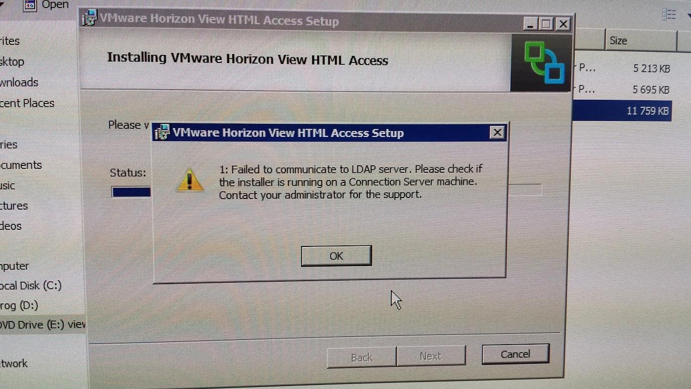 Error installing VMware Blast: Failed to communicate with LDAP server
