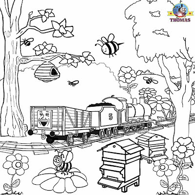 Cartoon image honey bumble bee train James and Thomas coloring pages for kids printable worksheets